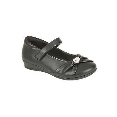 Boys Shoe Touch Fasten School Shoe in Black by US Brass