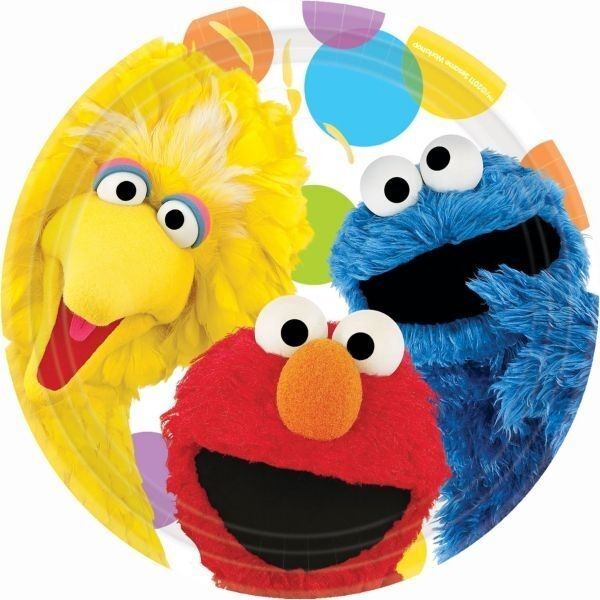 "SESAME STREET PARTY SUPPLIES 9"" PAPER PLATES PACK OF 8"