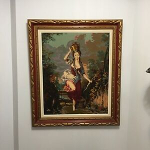 Milkmaid needlepoint in frame