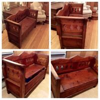 VERY REDUCED!!!!RARE & USEFUL ANTIQUE PINE STORAGE BENCH(1860)