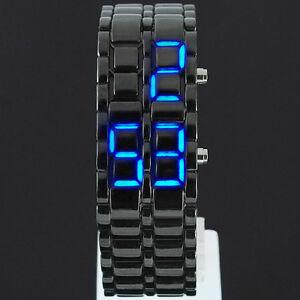 LED Digital Date Lava Faceless Iron Bracelet Samurai Watch Mens Ladies