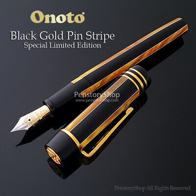Onoto Black Gold Stripe Fountain Pen Limited Edition