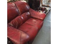 OXBLOOD LEATHER 2 SEATER SETTEE