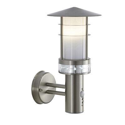 Saxby Pagoda Modern Stainless Steel LED IP44 Garden Wall Light Exterior Sensor