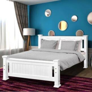 Brand new pine wooden modern design queen size bed used mattress,