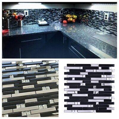 Mirror Reflection Stainless Steel Black Glass Liner Tile For Kitchen Backsplash