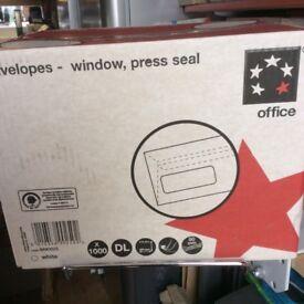 1 box 1000 DL WHITE Window Press Seal ENVELOPES -