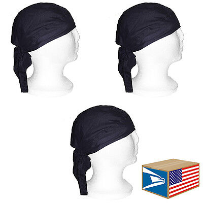 3 LOT SKULL CAP Solid Black HEAD WRAP DU DO DOO RAG DURAG TIE BACK BIKER HAT!