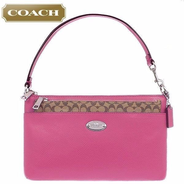 COACH CROSS GRAIN LEATHER POP REMOVABLE POUCH LARGE WRISTLET