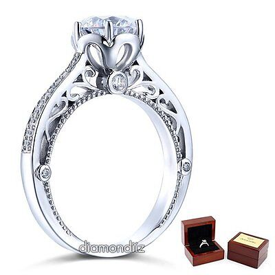 2 Carat Lab Created Diamond Vintage Style Sterling 925 Silver Engagement Ring