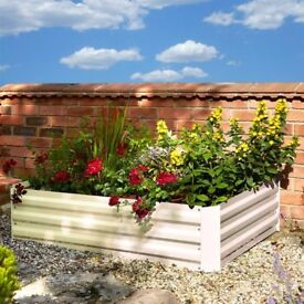 Powder coated metal raised bed planter - brown or cream.