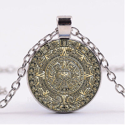 NEW Cabochon Glass necklace Silver woman pendants Aztec Calendar Wheel