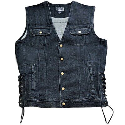New Mens Black Denim Motorcycle Vest M, L, XL, 2XL, 3XL NWT Price drop!!