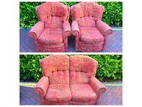 *** 3 PIECE SOFA SUITE 2x A/CHAIR & 2 SEATER MATERIAL*