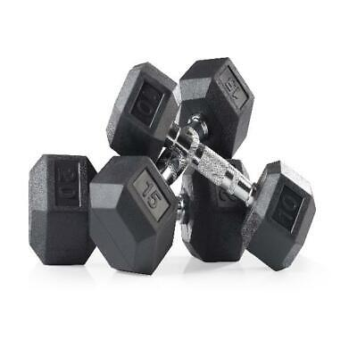 Golds Gym Rubber Hex Dumbbell, 10 -35 Lbs, Single Bodybuilding -