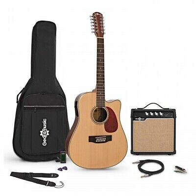 Dreadnought 12 String Electro Acoustic Guitar Natural + Amp Pack