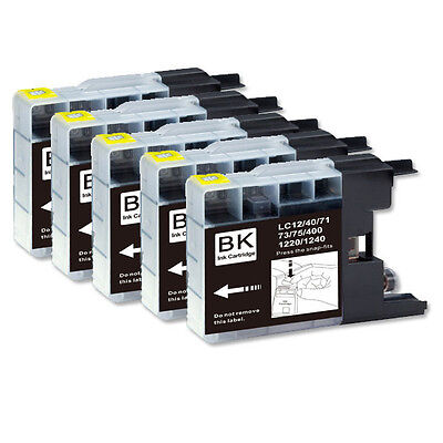 5 BLACK Printer Ink fits Brother LC71 LC75 MFC-J825DW MFC-