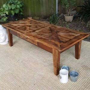 Mango Wood Parquetry Coffee Table W Drawer Distressed Finish Coogee Eastern Suburbs Preview