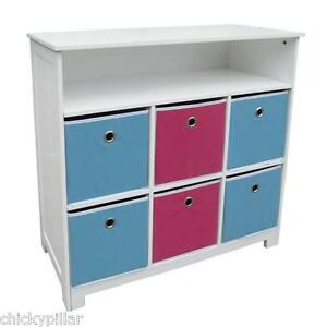 Kids-Bookcase-Toy-Storage-6-Bins-Drawers-Reversible-Blue-Pink-Bookshelf-NEW