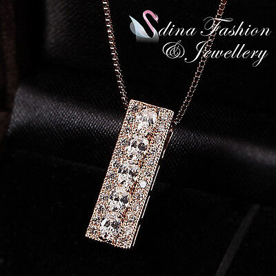 18K Rose Gold Plated Simulated Full Diamond Studded Rectangle Stick Necklace