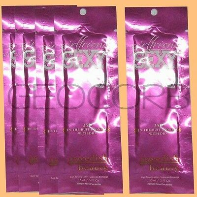 5 SWEDISH BEAUTY GIRLFRIEND SEXY DHA BRONZER PACKET TANNING BED LOTION -