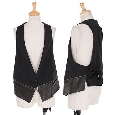 NEIL BARRETT Hem Leather switching design vest Size 40(K-31800)
