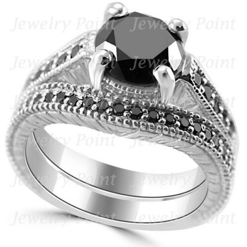 3.20ct Black Diamond Matching Engagement Wedding Ring Set 14k White Gold Antique