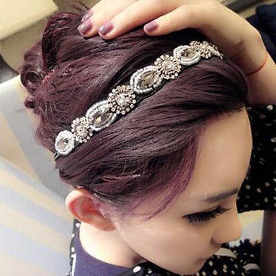Damen Retro Haarschmuck Strasssteine Haarband Kristall Steine Strass Stirnband