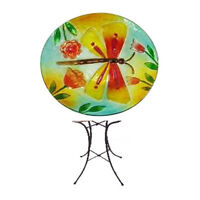 Dragonfly Bird Bath with Stand for Outdoor Decor- Outdoor Garden