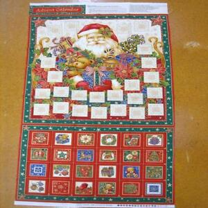 Father Christmas Santa Advent Calendar Cotton Quilting Fabric Panel