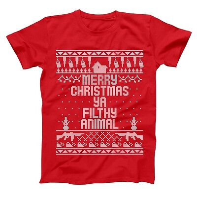 Home Merry Christmas Ya Filthy Animal Funny xmas sweater design Red Mens