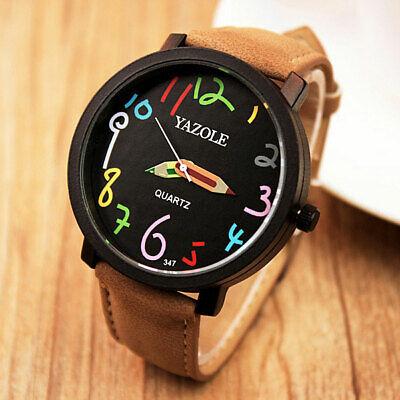 Womens Fashion Quartz Wrist Watch Colorful Pencil Pointer Black Dial Brown Strap