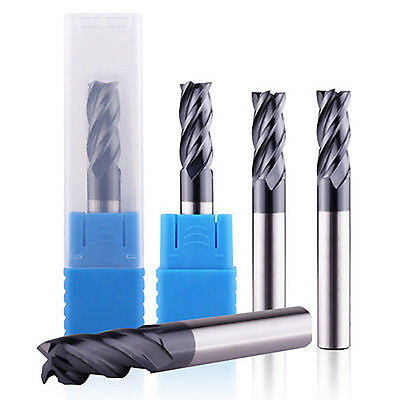5 Pcs 4 Flute 18 End Mill Solid Carbide Tialn Coated X 12 X 1-12 Cnc Bit