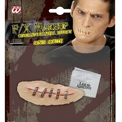 FX HORROR GRUSEL MAKE UP Halloween zugenähter genähter getackerter Mund 4155