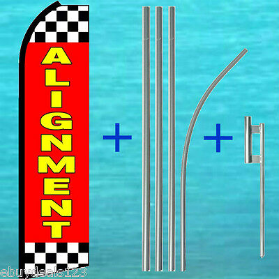 Alignment Feather Flutter Flag 15 Tall Pole Mount Swooper Bow Banner Sign