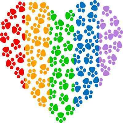 30 Custom Rainbow Paw Heart Personalized Address Labels