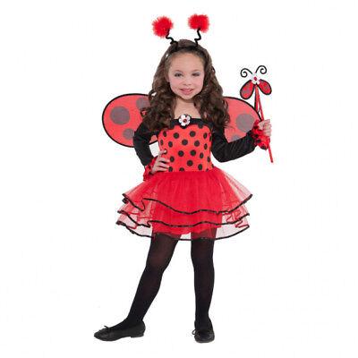 Marienkäfer Kostüm Gr. 98 104 Kleid Flügel Haarreif Kinder Karneval Mädchen  ()