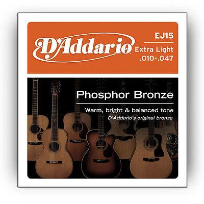 D Addario EJ15 Phosphor Bronze Extra Light Acoustic Guitar Strings .010-.047 - $5.99