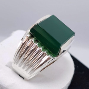 Natural Men's Green Aqeeq Ring,Sterling Silver925 Agate,Handmade