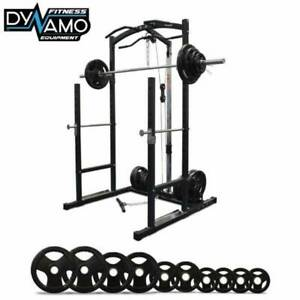 Power Rack with Lat Pulldown Dips Pull Ups & 100kg Olympic Barbell Set