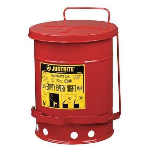 Justrite Oily Waste Can, 6 Gal, Steel