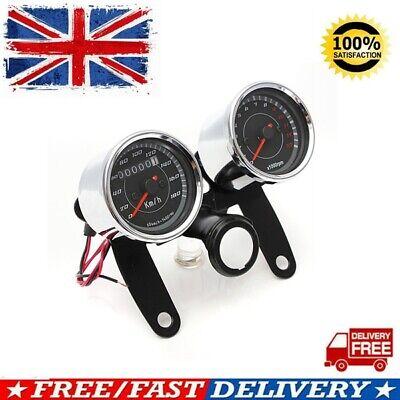 12V Universal LED Motorcycle Tachometer Odometer Speedometer Gauge w/ Bracket