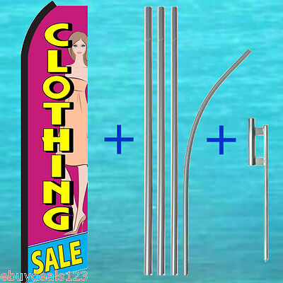 Clothing Sale Swooper Flag 15 Tall Pole Mount Flutter Feather Banner Sign
