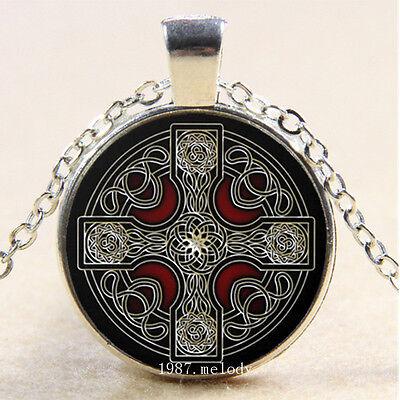 New Cabochon Glass Silver Bronze Black Pendant Necklace New Celtic Cross