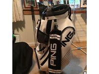 Ping DLX cart bag 2016, white & black with towel