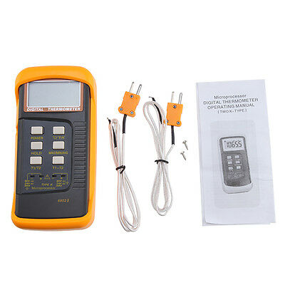 Dual Two Channel 2 K-type Digital Thermometer Thermocouple Sensor 1300c 2372f