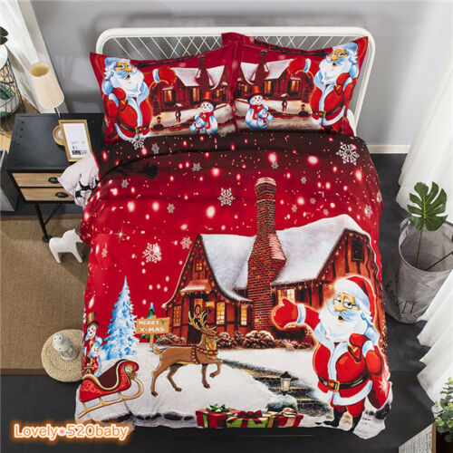 Christmas Bedding Sets Queen.Details About Christmas Duvet Covers Snow Night Bedding Sets Queen King Size Santa Claus Print
