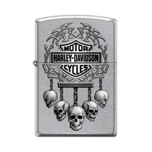"""Zippo 7206, """"Harley Davidson-Skulls & Logo"""" Street Chrome Finish Lighter"""