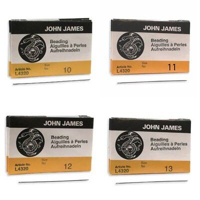 John James English Beading Needles Size 10, 11, 12, 13 - (25 Beading Needles) John James Beading Needle