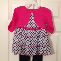New Girls Toddler Pink and Polka Dot Dress Sz 4